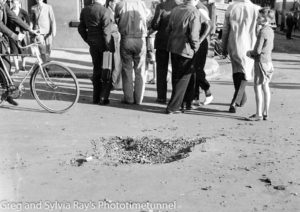 Shell hole in Parnell Place, Newcastle, NSW, the morning after the Japanese submarine attack, 8-6-1942