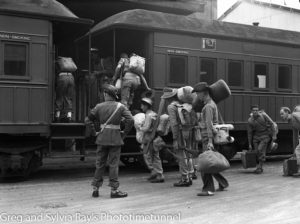 Soldiers boarding a train in the Newcastle area during World War 2.