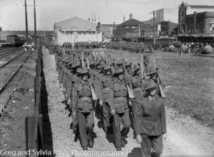 Soldiers marching alongside Hunter Street. Newcastle, January 1940.