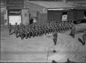 Soldiers drilling at Newcastle, NSW, circa 1940.
