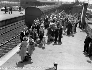 British sailors leaving Newcastle from Broadmeadow railway station, Newcastle, February 23, 1945.