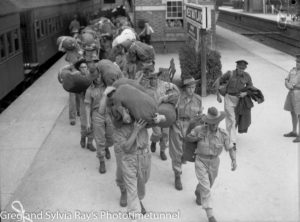 Troops for the British Commonwealth Occupation Force bound for Japan. Photographed at West Maitland Railway Station on March 3, 1946. (3)