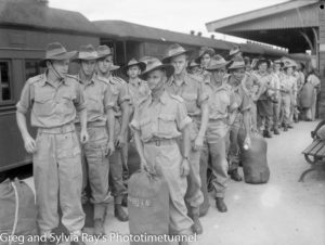 Troops for the British Commonwealth Occupation Force bound for Japan. Photographed at West Maitland Railway Station on March 3, 1946. (4)
