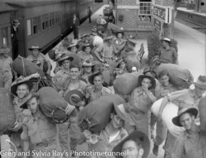 Troops for the British Commonwealth Occupation Force bound for Japan. Photographed at West Maitland Railway Station on March 3, 1946. (6)