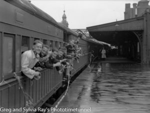 Men on a train at Newcastle, NSW, leaving to go to war, October 1939. (2)
