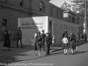 Air-raid shelter outside Newcastle Police Station, Hunter Street, during a drill, September 1, 1942.