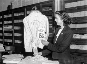 Ration coupon shopping in a Newcastle department store, June 1, 1942. (2)