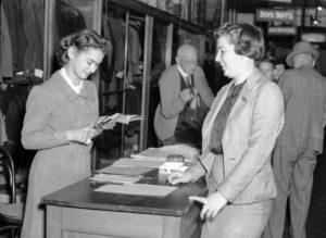 Ration coupon shopping in a Newcastle department store, June 1, 1942. (3)