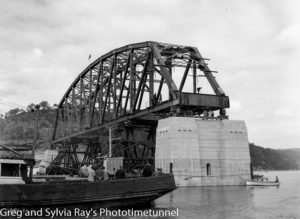 First span of the new Hawkesbury River Bridge being placed in position, September 15, 1944. (10)