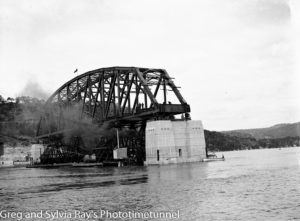 First span of the new Hawkesbury River Bridge is placed in position, September 15, 1944. (12)