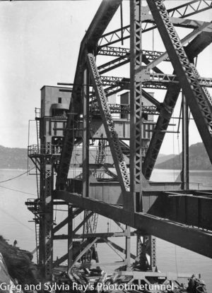 First span of the new Hawkesbury River Bridge being prepared for flotation to its position, September 15, 1944. (13)