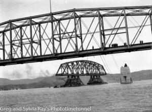 First span of the new Hawkesbury River Bridge being floated to its position, September 15, 1944. (15)