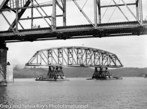 First span of the new Hawkesbury River Bridge being floated to its position, September 15, 1944. (2)