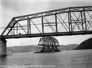 First span of the new Hawkesbury River Bridge being floated into position, September 15, 1944. (4)