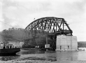 The first span of the new Hawkesbury River railway bridge is put in place, September 15, 1944. (5)