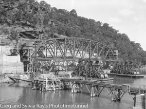 First span of the new Hawkesbury River Bridge being prepared for flotation to its position, September 15, 1944. (9)
