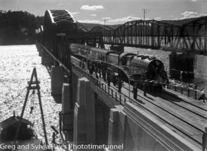 Locomotive 3810 hauls a train at the official opening of the new Hawkesbury River railway bridge, July 1, 1946.