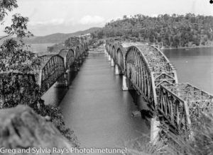 Old and new Hawkesbury River railway bridges. Circa 1946.