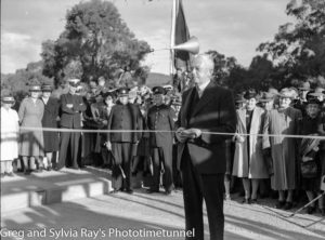 Cutting the ribbon at the official opening of the road bridge over the Hawkesbury River, May 5, 1945.