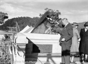 Unveiling plaque at the official opening of the road bridge over the Hawkesbury River, May 5, 1945.