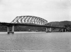 Hawkesbury River road bridge construction, circa 1945.