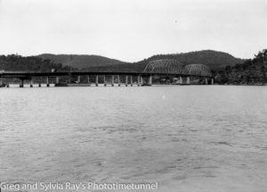 Hawkesbury River road bridge construction, circa 1945. (2)