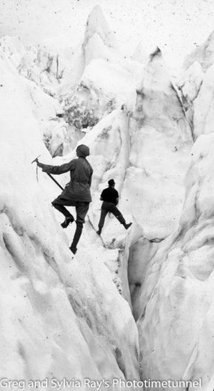 Australian lawyer Marie Byles' expedition to the New Zealand alpine country in 1935. Two climbers on ice.