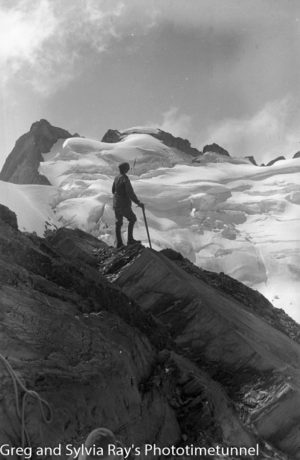 On the summit of Mt Strachan. Australian lawyer Marie Byles' expedition to the New Zealand alpine country in 1935.