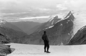 Marie Byles' 1935 expedition to the New Zealand Alps. Crystal Peak from the shoulder of Fettes, with the Mahitahi Valley at left.