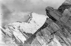 Australian lawyer Marie Byles' expedition to the New Zealand alpine country in 1935. Fettes Peak from shoulder of Crystal Peak.