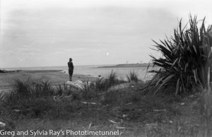Australian lawyer Marie Byles' expedition to the New Zealand alpine country in 1935. Mouth of the Mahitahi River.