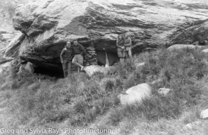 "Australian lawyer Marie Byles' expedition to the New Zealand alpine country in 1935. Harry Ayres, Frank Alack, Marjorie Edgar Jones and Marie Byles (left to right) at ""Blowfly Bivvy"" at the head of the Mahitahi Valley."