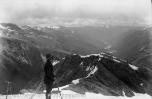 Australian lawyer Marie Byles' expedition to the New Zealand alpine country in 1935. Landsborough Valley from Te Keo.