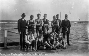 Swimmers at Newcastle Baths. Circa 1920.