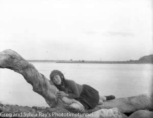 Young girl on the Stockton shore of Newcastle Harbour, circa 1920. (4)
