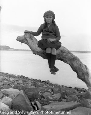 Young girl on the Stockton shore of Newcastle Harbour, circa 1920. (5)