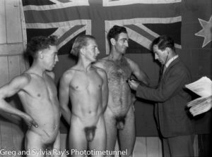 Dr Bill Ferguson checks recruits for the Australian Military Forces, circa 1940