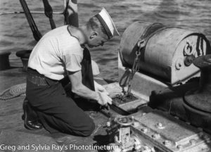 Depth charge launcher on a Royal Australian Navy ship during World War 2.