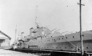 HMAS Sydney at Newcastle's Lee Wharf, September 1938.