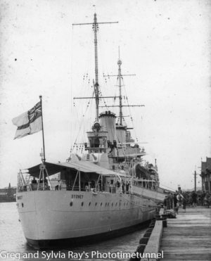 HMAS Sydney during a visit to Newcastle, NSW in September 1938.