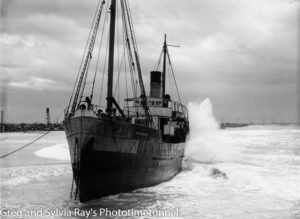 TSS Maianbar, aground on Nobbys Beach, Newcastle, NSW, 1940. (3)