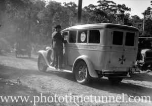 An ambulance in the Newcastle district, NSW. Circa 1940s.