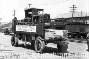 Hyster straddle truck in Newcastle, NSW. Circa 1940s.