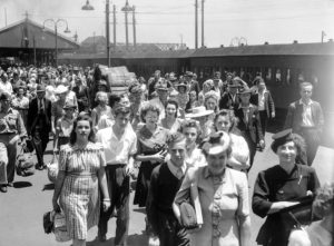Platform crowd at Newcastle Railway Station, NSW, on New Year's Day 1946.