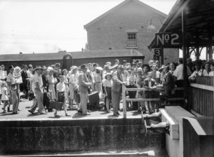 Platform crowd at Newcastle Railway Station, NSW, on New Year's Day 1946. (2)