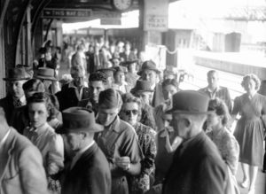 Platform crowd at Newcastle Railway Station, NSW, on New Year's Day 1946. (3)