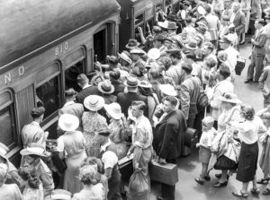 Crowd at Broadmeadow Railway Station, Newcastle, NSW, June 1, 1946.
