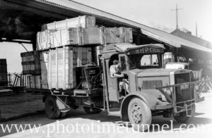Gas-powered truck operated by BHP Ltd in Newcastle, NSW, as a wartime petrol-saving measure. Circa 1941. (3)