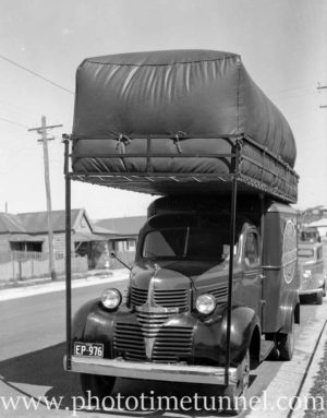 Charcoal gas-powered Dodge delivery truck in Newcastle, NSW. September 19, 1941.