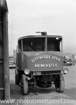 Steam truck operated by the council of the City of Greater Newcastle, NSW, during wartime petrol shortages. August 30, 1941. (2)